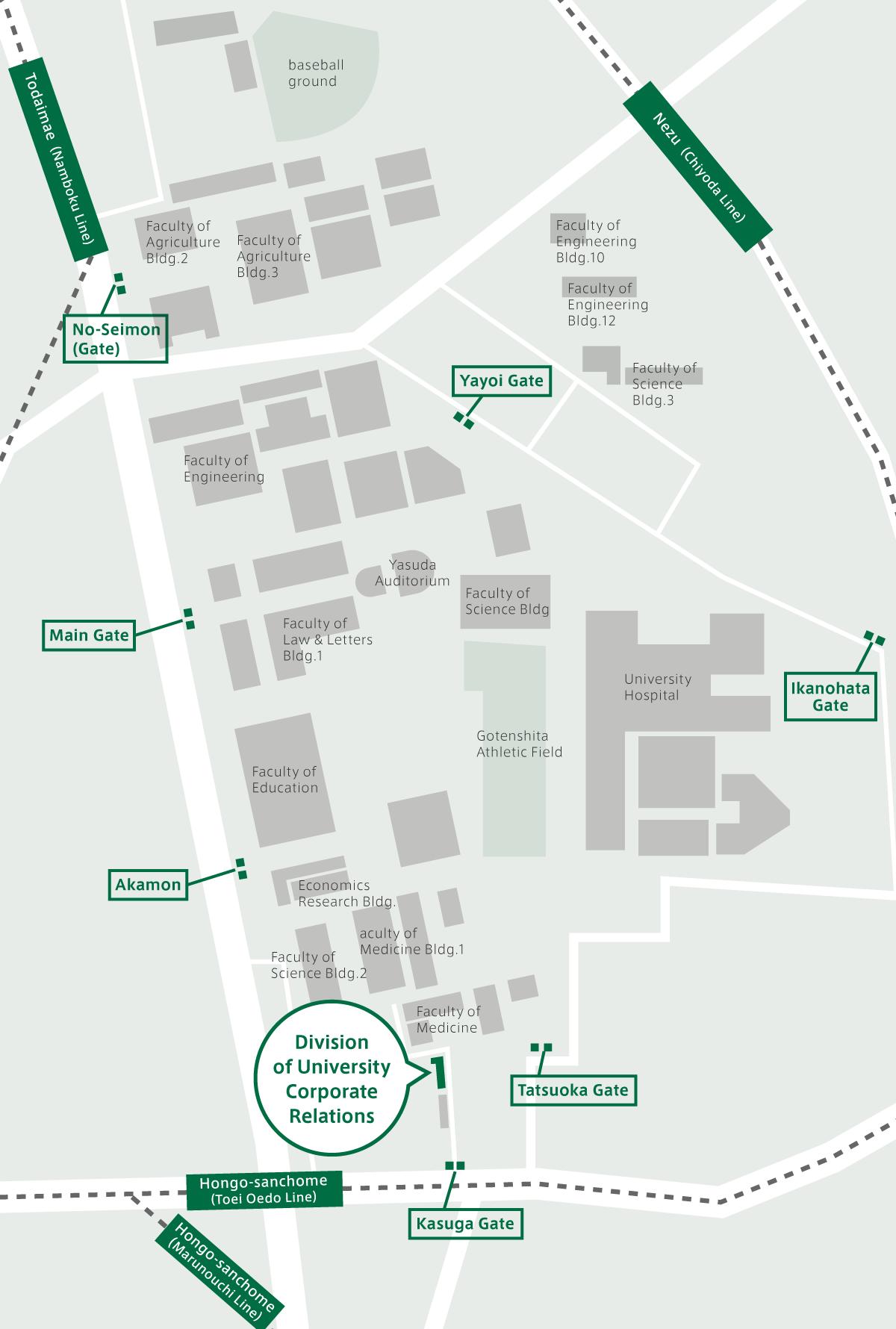 地図:本郷キャンパス 全体地図